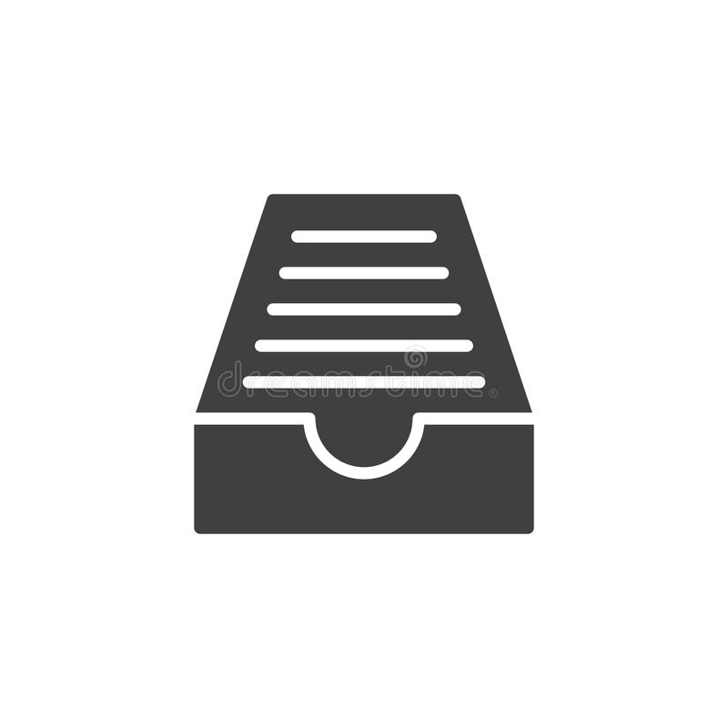 Drawer mail box icon vector. Filled flat sign, solid pictogram isolated on white. Symbol, logo illustration royalty free illustration