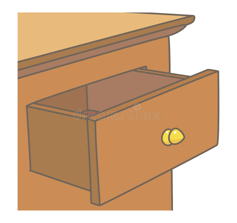 Drawer. Open drawer in a wooden cabinet with a golden handle royalty free illustration
