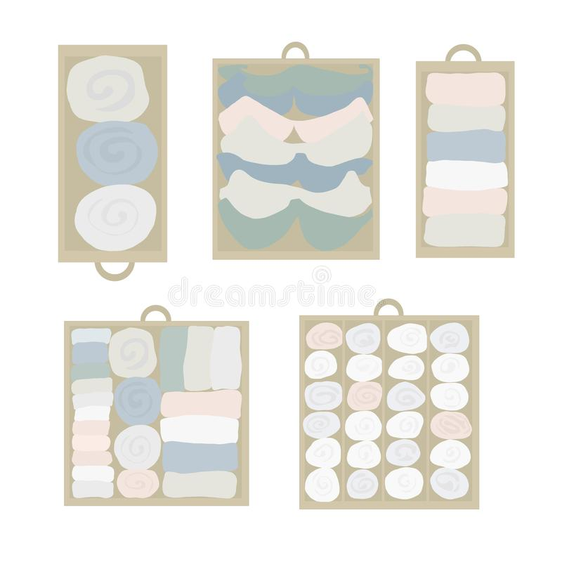 Drawer organization Vector icon set. Closet organization illustration. House keeping. Tidy up. Declutter and tidying up concept. Different drawers with folded vector illustration