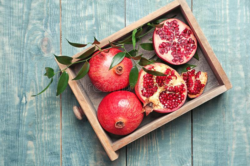 Drawer with pomegranates royalty free stock photos