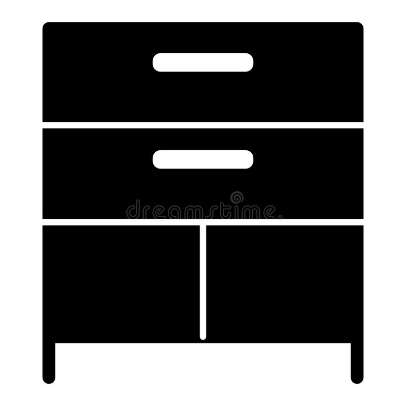 Drawer solid icon. Cabinet vector illustration isolated on white. Storage glyph style design, designed for web and app. Eps 10 royalty free illustration