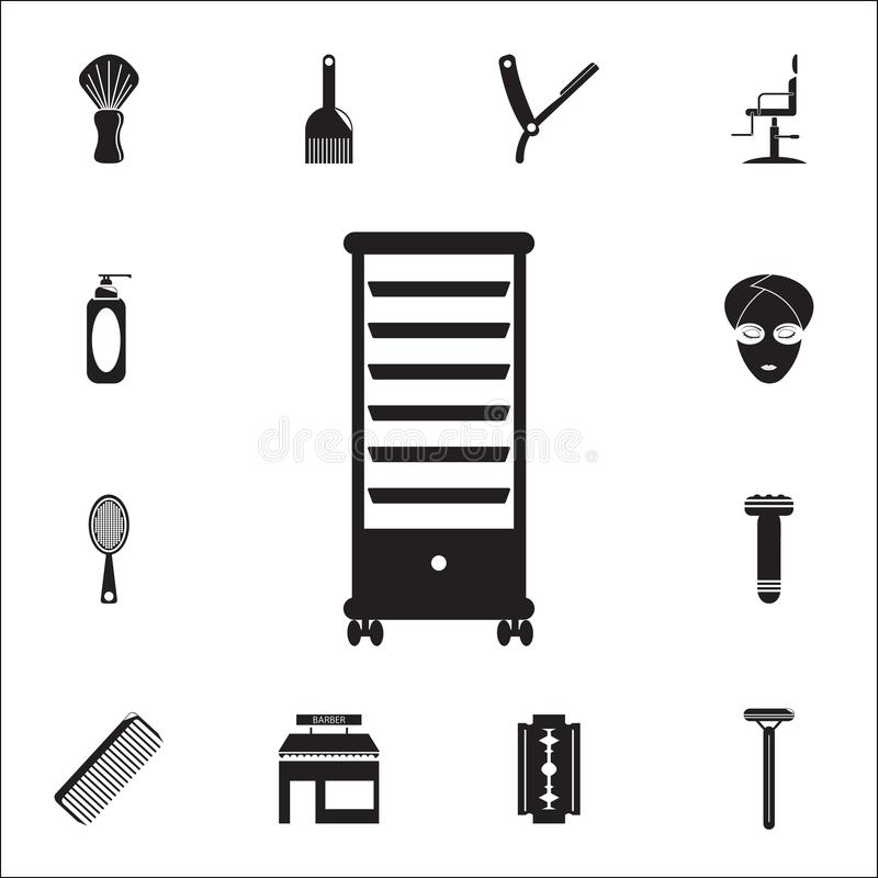 Drawer Storage Trolley Hairdresser Shelf icon. Detailed set of Barber icons. Premium quality graphic design sign. One of the colle. Ction icons for websites, web vector illustration