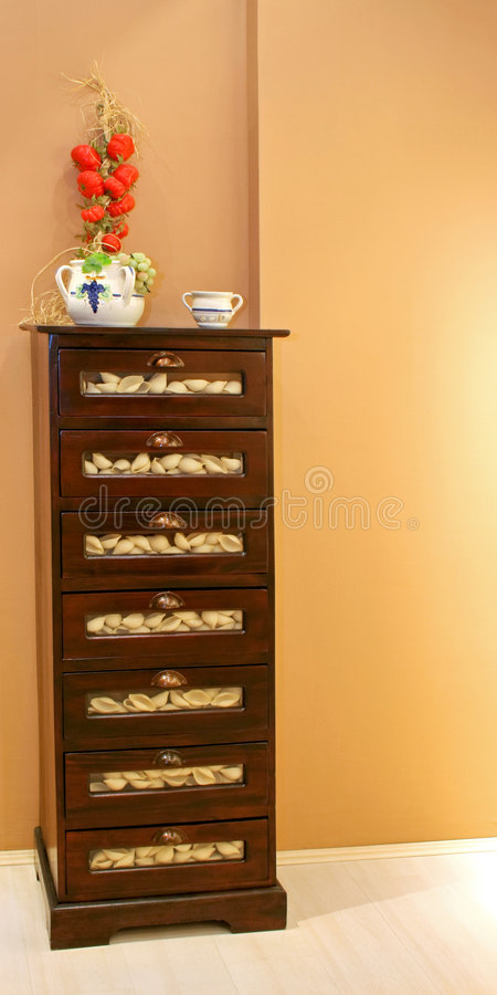 Drawers with pasta royalty free stock photos