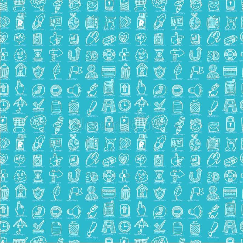 drawhandsymboler mönsan seamless rengöringsduk royaltyfri illustrationer