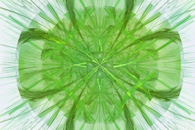 Drawin abstrato com os filamentos dourados e verdes ilustração stock