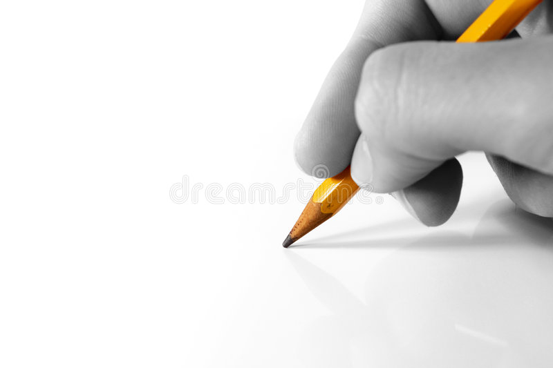 Drawing. With pencil in right hand royalty free stock photography