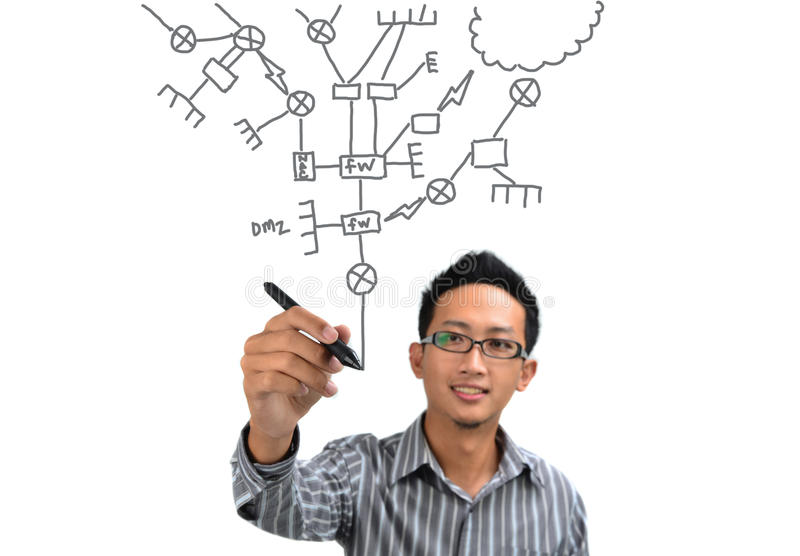 Drawing. Asian man drawing network diagram. All terms on diagram are generic IT equipments stock photos