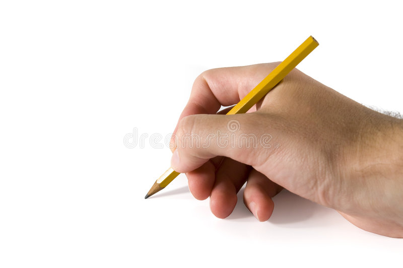 Drawing. With pencil in right hand, taking note royalty free stock photography