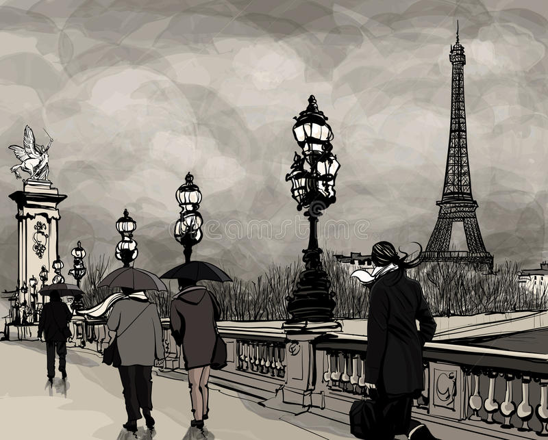 Drawing of Alexander III bridge in Paris showing Eiffel tower. Drawing of a view of Alexander III bridge in Paris showing Eiffel tower. Nightfall on a rainy royalty free illustration