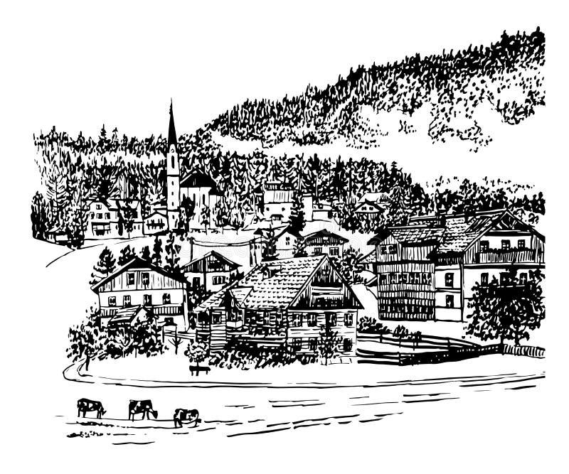 Snowy Peaks Christmas Tree Farm: House In Mountain Landscape Hand Drawn Vector Illustration