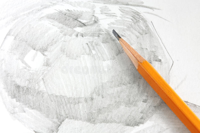 Drawing of apple by graphite pencil. With graphite pencil stock image