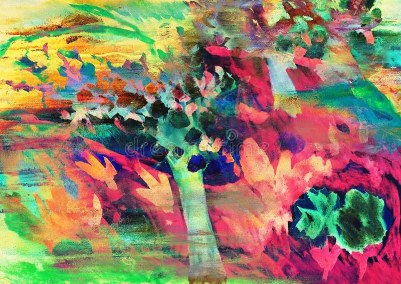 Drawing of apple tree garten in bloom. royalty free illustration