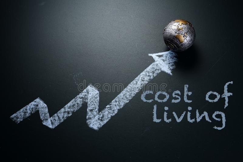 Drawing of arrow pointing up with mini globe stock image