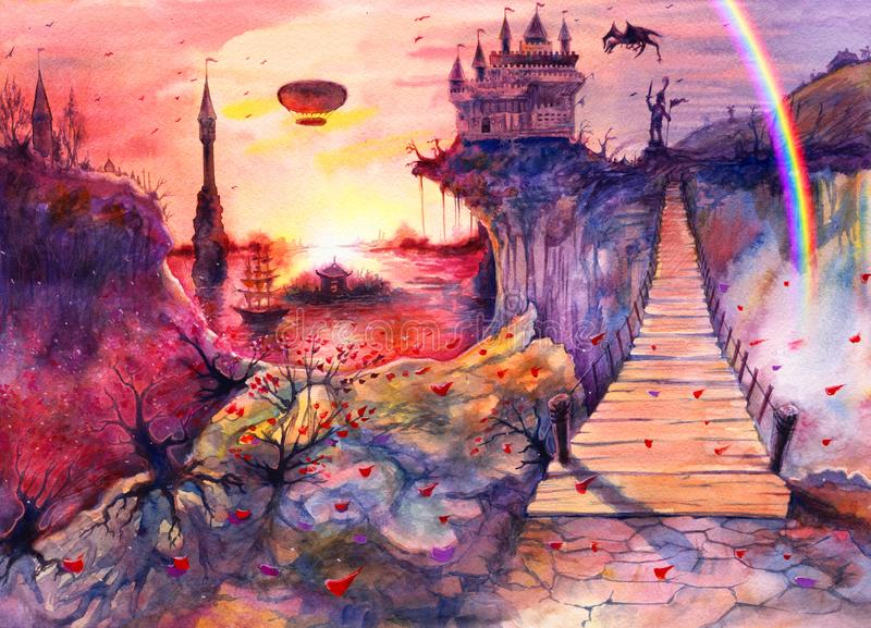 Drawing art beautiful sea sunset landscape, watercolor painting castle, rocks, cliffs, dragon, rainbow, Crimea bridge, hand drawn royalty free illustration