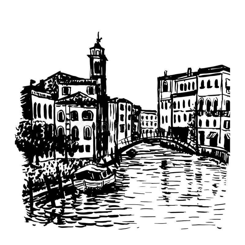 Drawing background cityscape in Venice sketch illust vector illustration