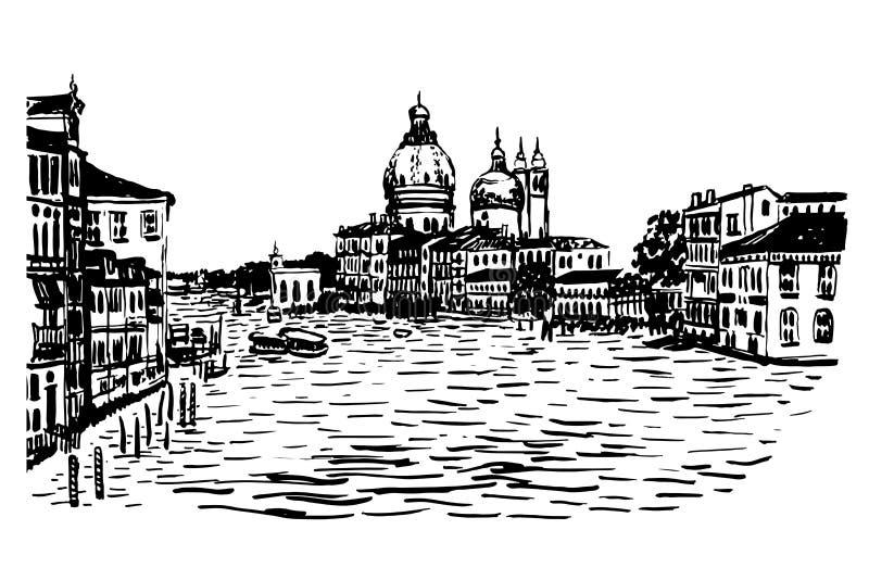 Drawing background cityscBasilica Maria della Salute hand-drawn illustration royalty free illustration