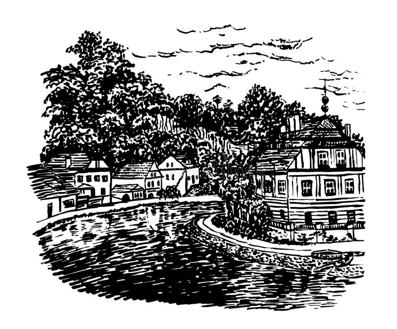 Drawing background landscape view of Cesky Krumlov, vector ill stock illustration