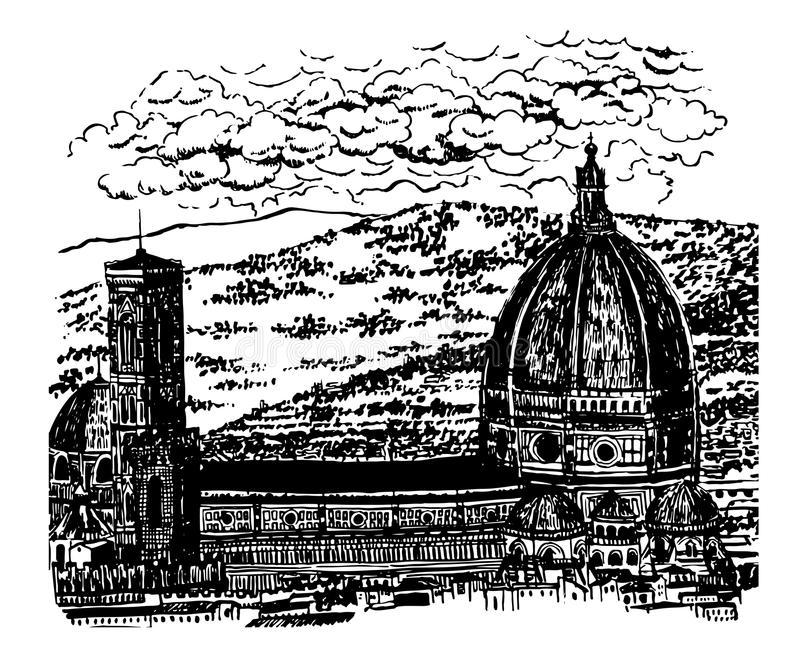 Drawing background landscape view of the Duomo, the Cathedral of Santa Maria del Fiore in Florence, sk stock illustration