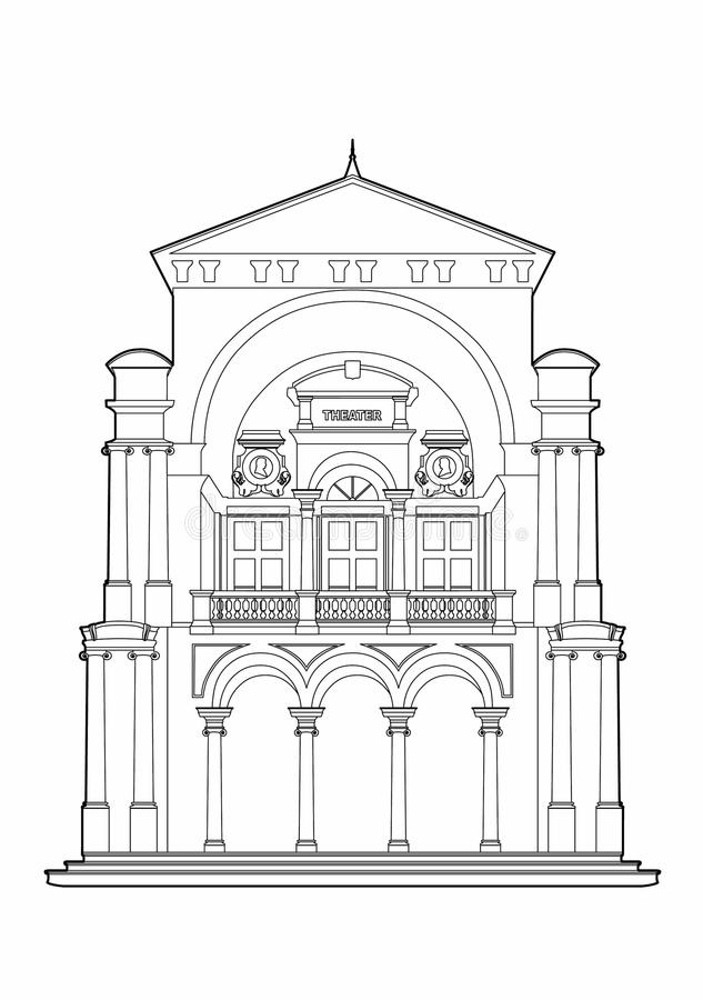 Drawing of a baroque theater stock illustration