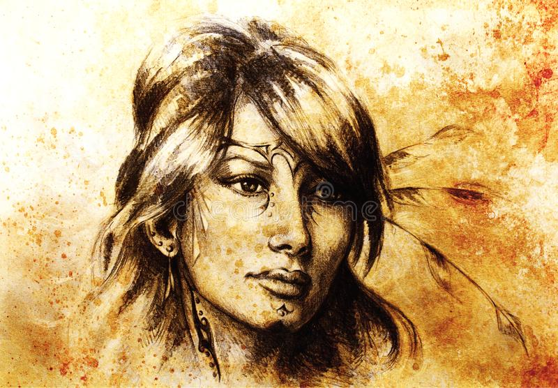 Drawing of beautiful contemplative indian woman face. Color effect. Drawing of beautiful contemplative indian woman face. Color effect stock illustration