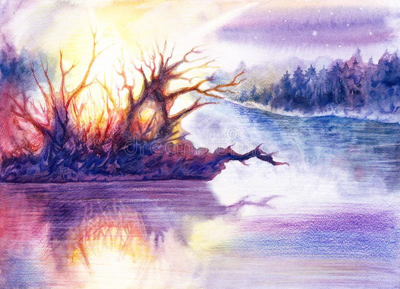 Drawing beautiful landscape art with river or lake, forest, water, trees, sun, sky, stars, hand drawn painting by watercolor royalty free illustration