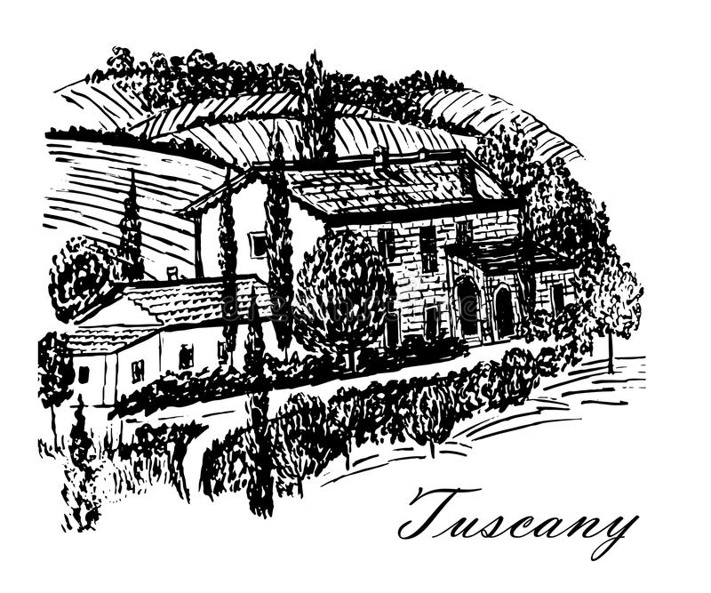 Drawing beautiful landscape of Tuscany fields with the beautiful manor house on the hill hand drawn illustration. Drawing beautiful landscape of Tuscany fields vector illustration