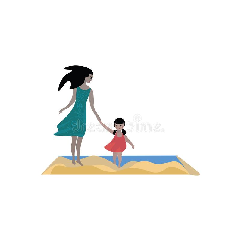 Drawing of a beautiful mom and a lovely daughter vector or color illustration royalty free illustration