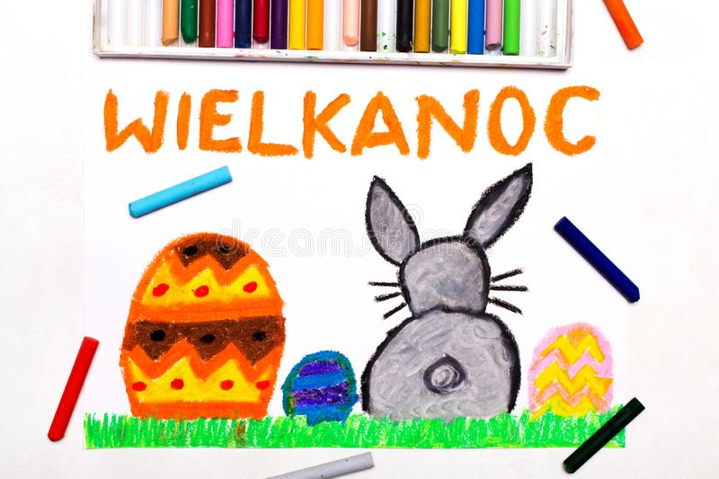 Drawing: Beautiful Polish Easter card with easter eggs and cute bunny royalty free stock photography
