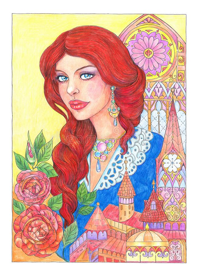 Free Drawing Beautiful Young Woman With Red Hair, Castle And Flowers Stock Photo - 178024850