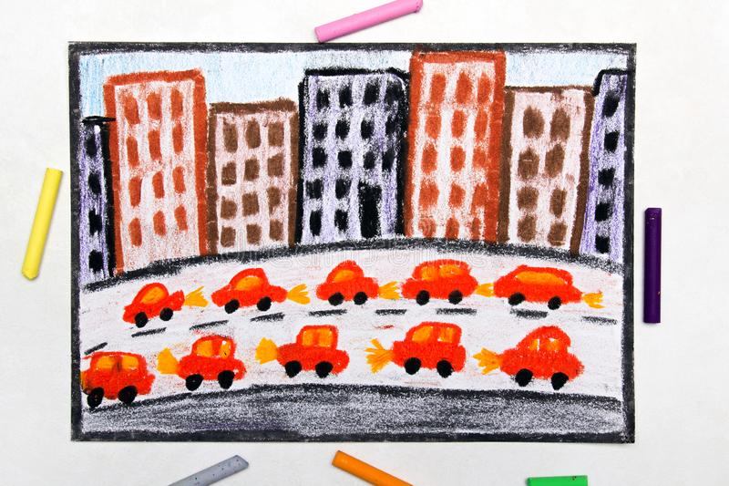 Drawing: Big city and highway. Cars next to blocks of flats royalty free illustration