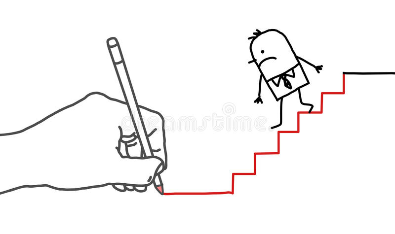 Drawing big hand and cartoon businessman - going down vector illustration
