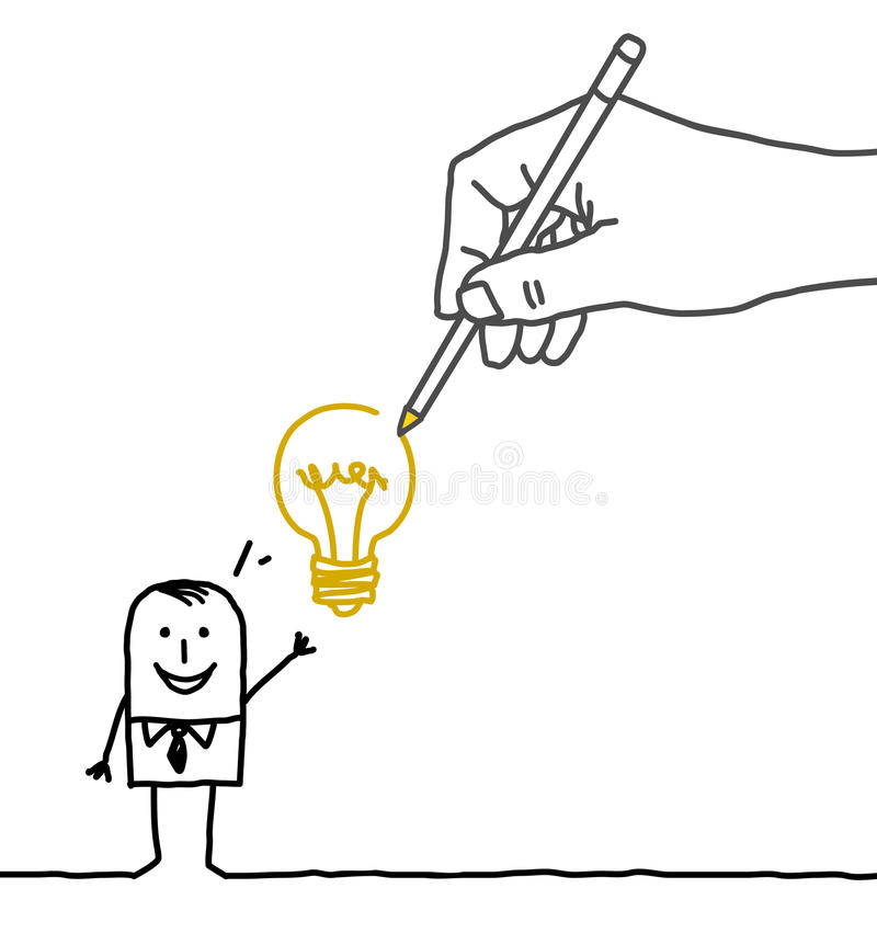Drawing big hand and cartoon businessman - new idea ! stock illustration