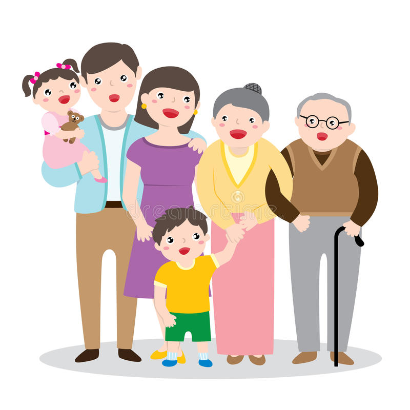 Drawing Of A Big Happy Family Portrait royalty free illustration