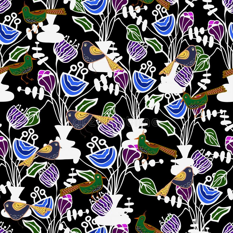 Drawing of birds and flowers of violet and blue colors on a dark background. Vector pattern stock illustration