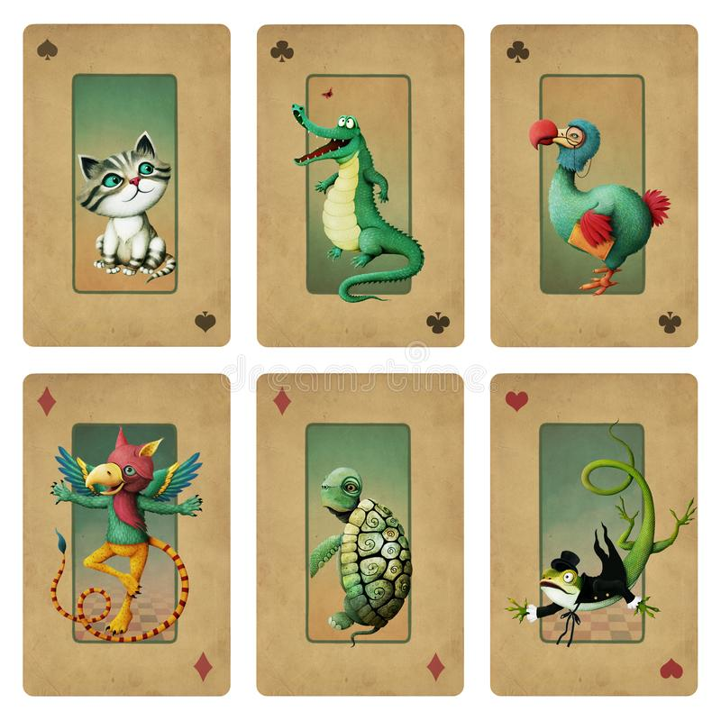 Collection cards Wonderland royalty free illustration
