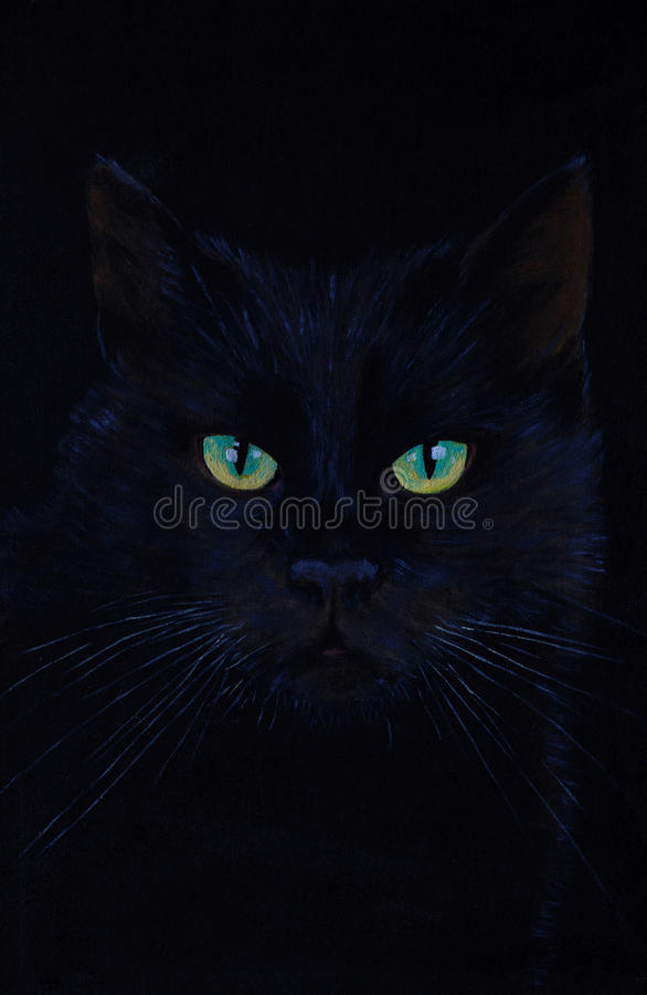 Drawing of a black cat, oil painting, cat's eyes.  stock images