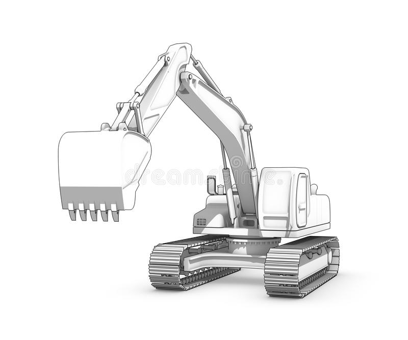 Drawing black and white sketch of excavator stock for 3 dimensional drawing software