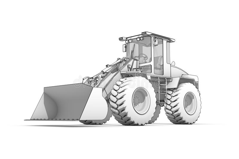 Drawing: black-and-white sketch of excavator royalty free illustration