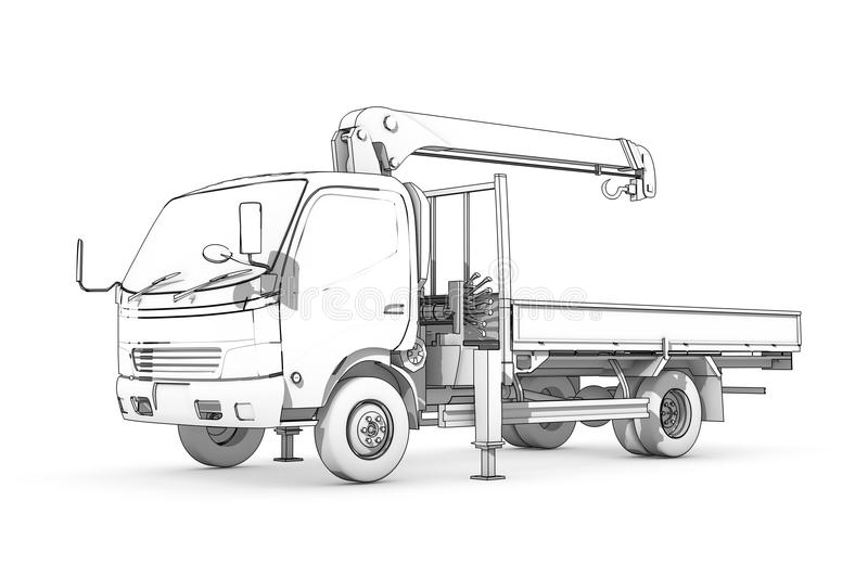 Drawing: black-and-white sketch of loader. Three-dimensional illustration of black-and-white sketch of small truck with crane vector illustration