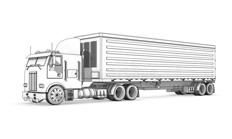 Drawing: black-and-white sketch of truck. Three-dimensional illustration of black-and-white sketch of truck vector illustration