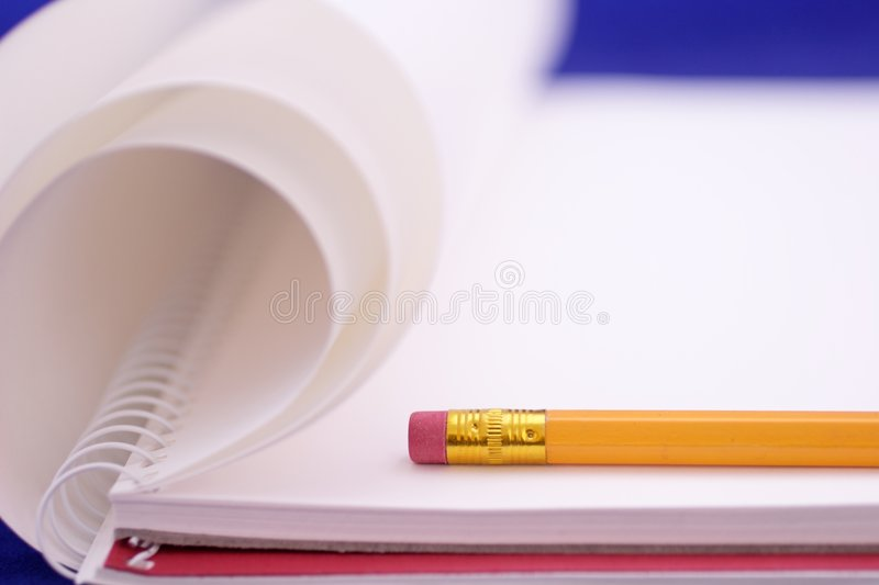 Drawing Block with pencil royalty free stock photo