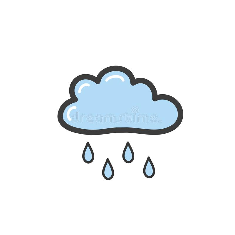 Drawing blue clouds with rain in the style of a doodle. Symbol of rainy weather. Vector drawing by hand. royalty free illustration
