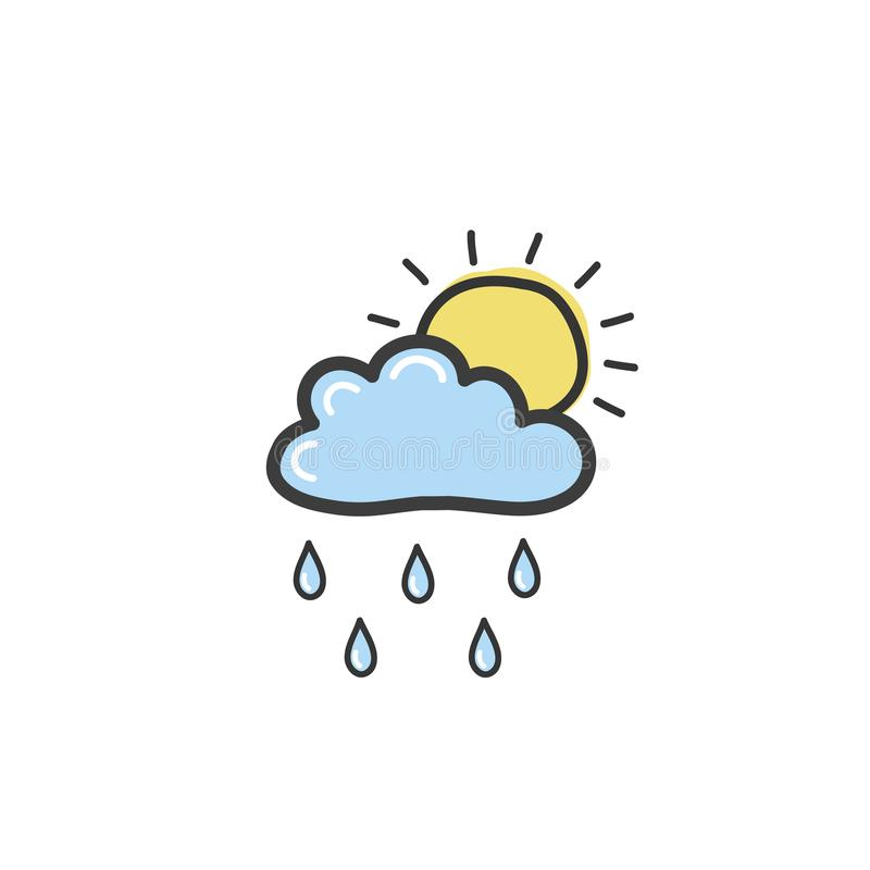 Drawing blue clouds with rain and sun. Symbol of weather. Vector hand drawn illustration in the doodle style vector illustration