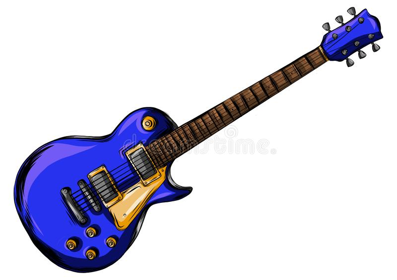 Drawing of a blue colored elletrica guitar vector illustration