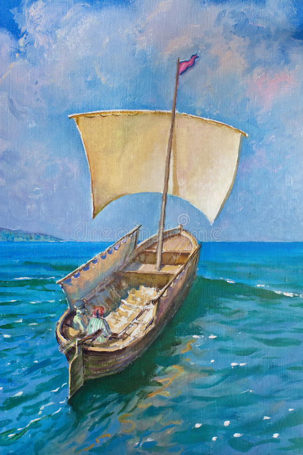 Drawing of boat, painting royalty free stock photo