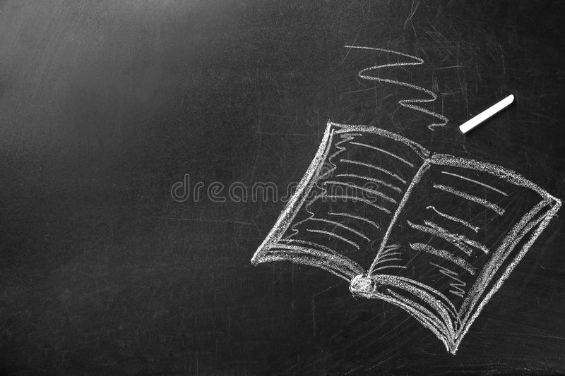 Drawing of book and chalk on board. Teacher`s day vector illustration