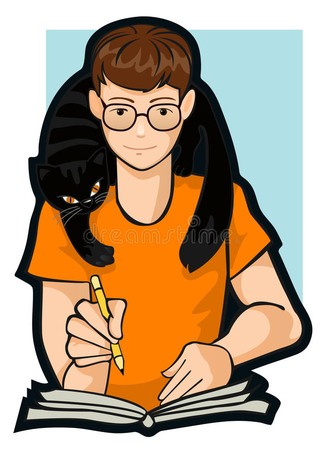 Download Drawing a boy with a cat stock vector. Image of writing - 19161065