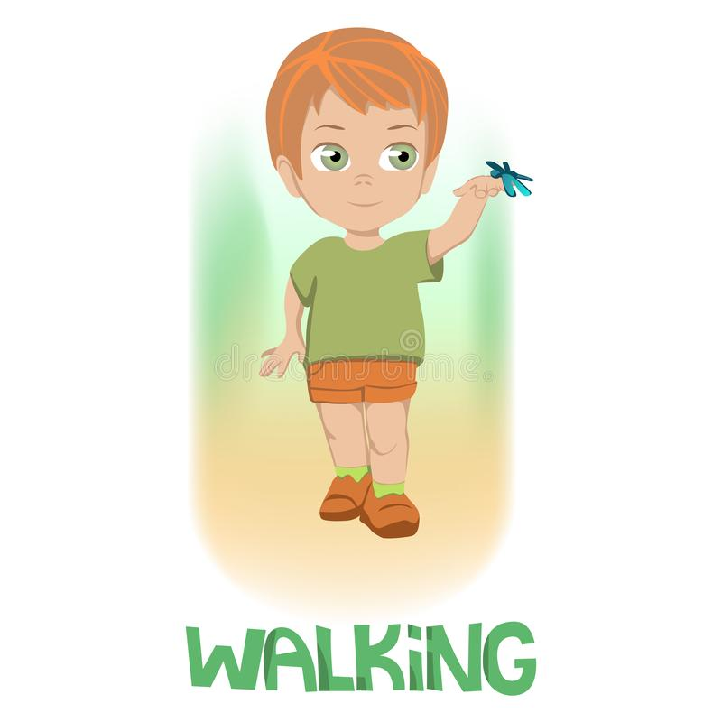 Drawing of boy in green shirt and orange shorts over green and orange gradient above WALKING in capital green text vector illustration
