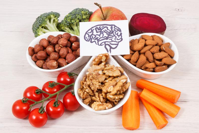 Drawing of brain and best food for health and good memory, healthy eating concept. Drawing of brain and best food for health and good memory, concept of healthy royalty free stock images