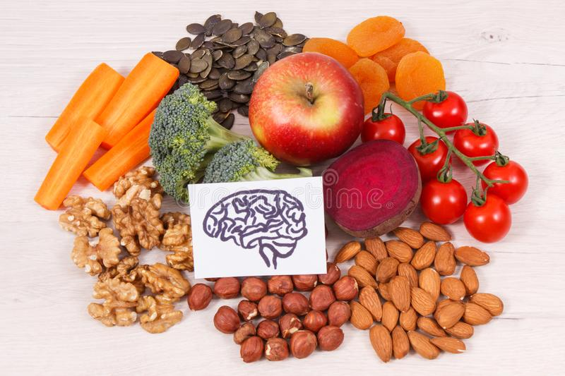 Drawing of brain and best food for health and good memory, healthy eating concept. Drawing of brain and best food for health and good memory, concept of healthy royalty free stock photos